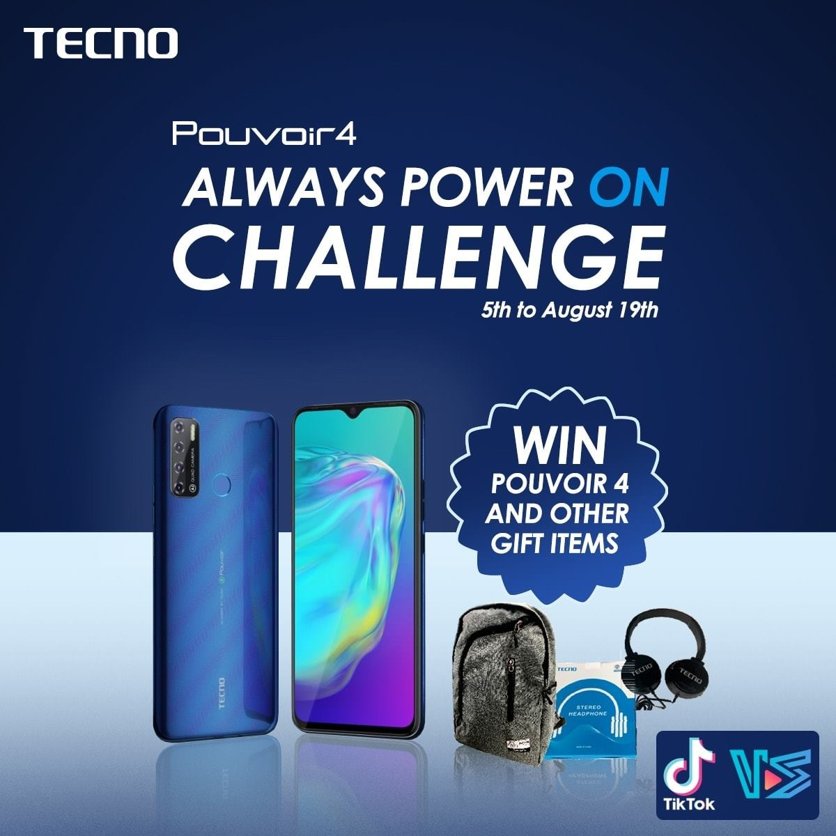 """Win #Pouvoir4 or Other Exciting Prizes In Tecno """"Always Power on Challenge""""."""
