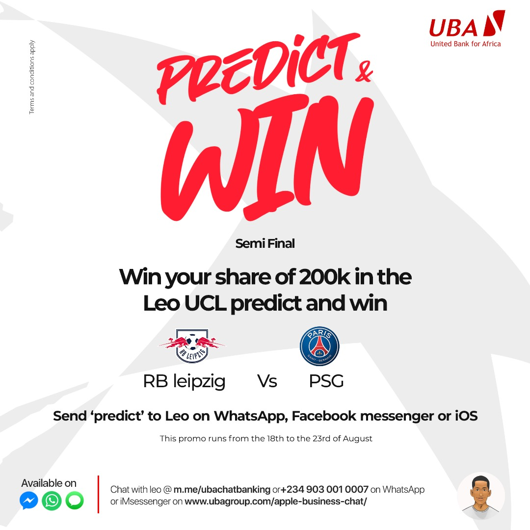 N200K Up For Grabs in UBA Group Predict and Win Giveaway.