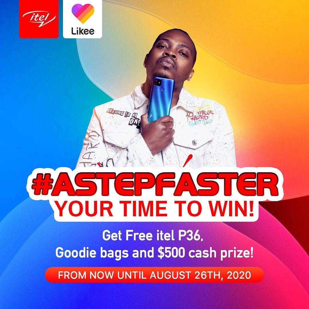 itel Mobile is giving away P36, $500 and Goodie Bags in #ASTEPFASTER on Likee.