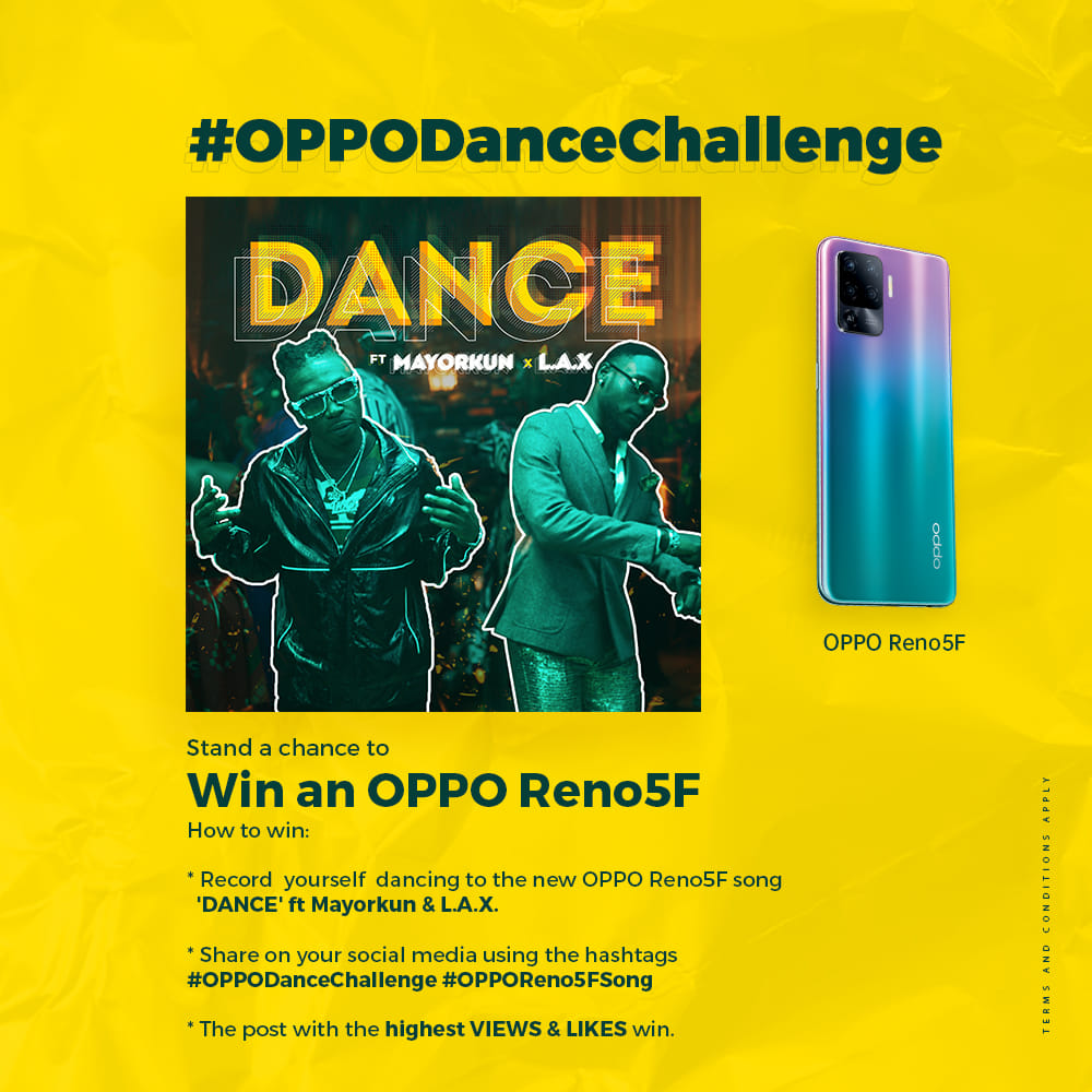Win a New OPPO Reno5F Smartphone Worth N129,900 in #OPPODanceChallenge.