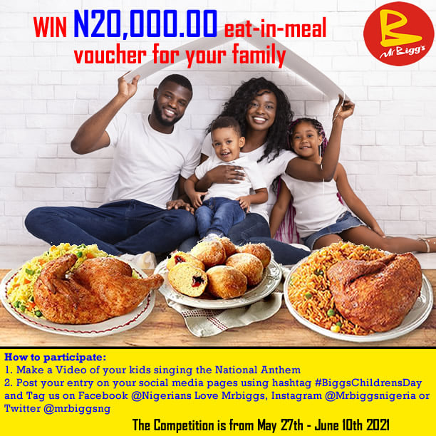 SING & WIN N20,000 Meal Voucher For Your Family.