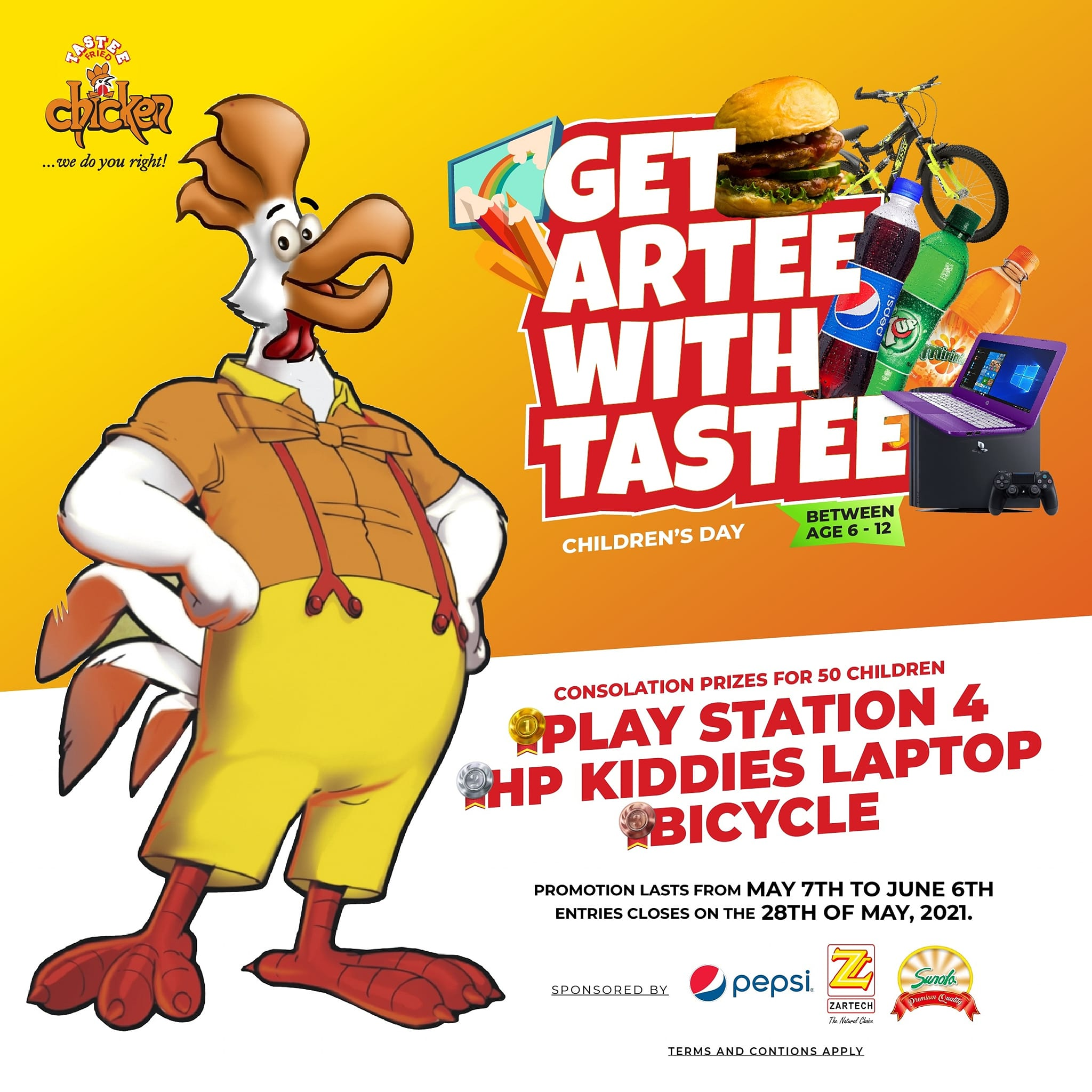 Win Play Station, Kids Tablets and Bicycle in Tastee Fried Chicken Children's Day Competition.