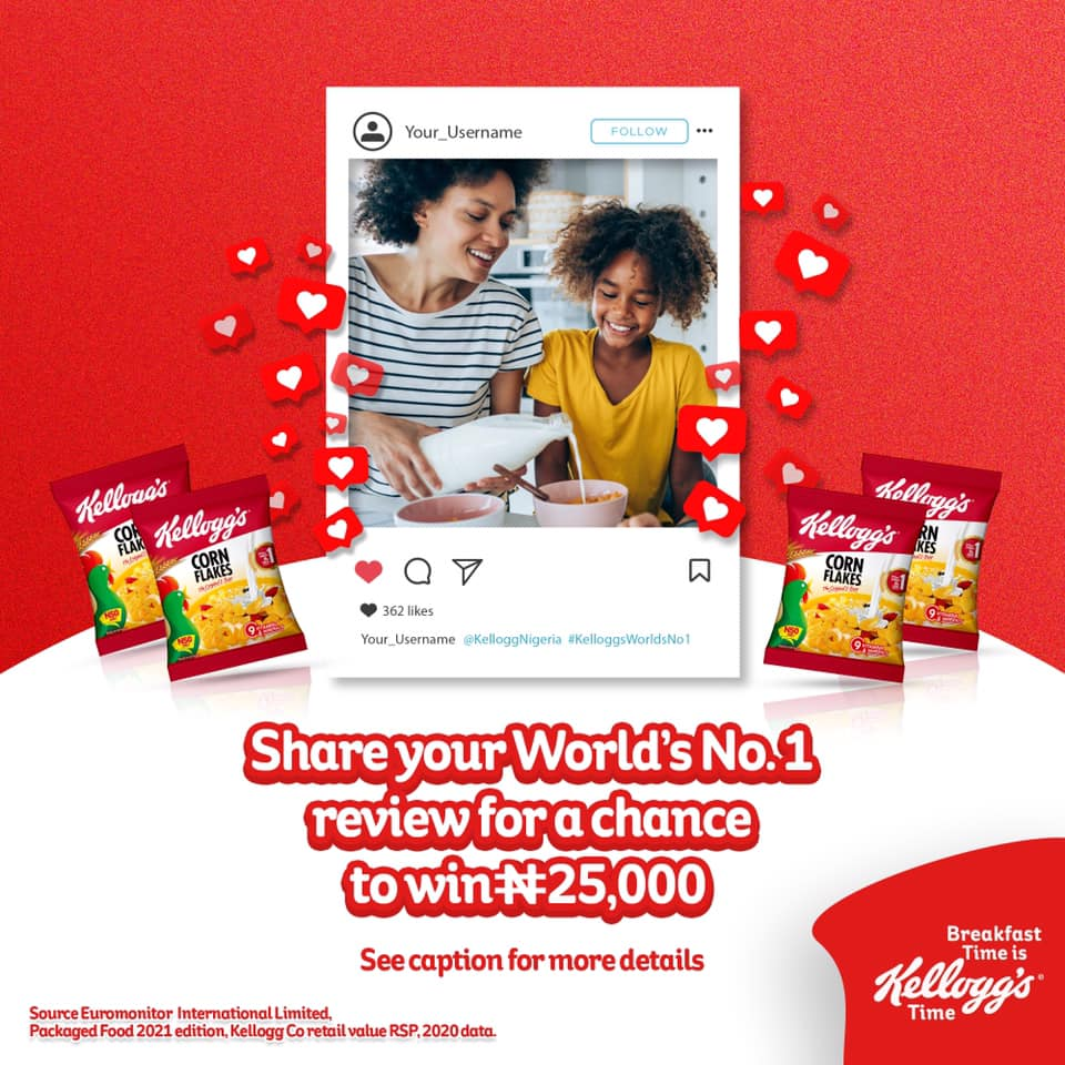 N25K Up for grabs in Kelloggs Review and Win Contest.