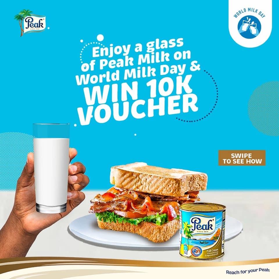 Win N10k Voucher From Peak Milk on World Milk Day.