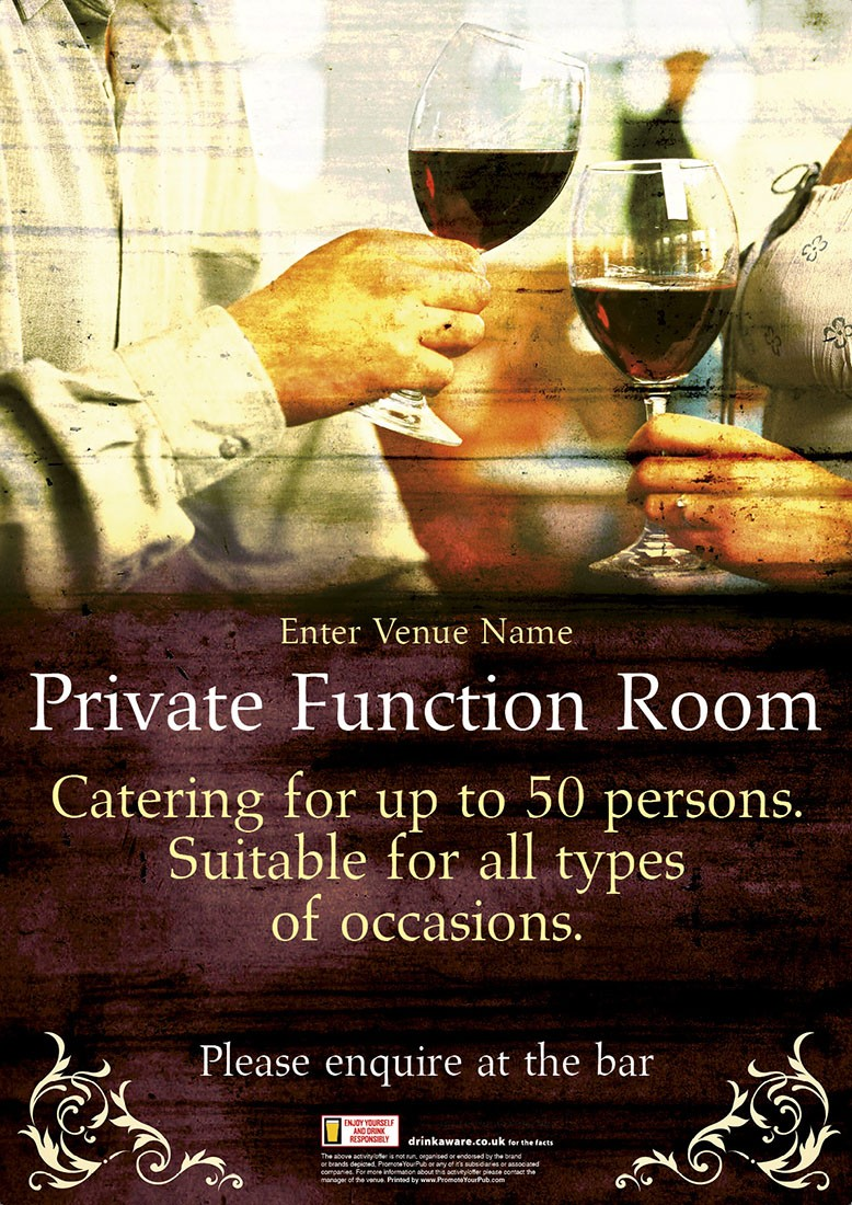 Function Room Poster Promote Your Pub