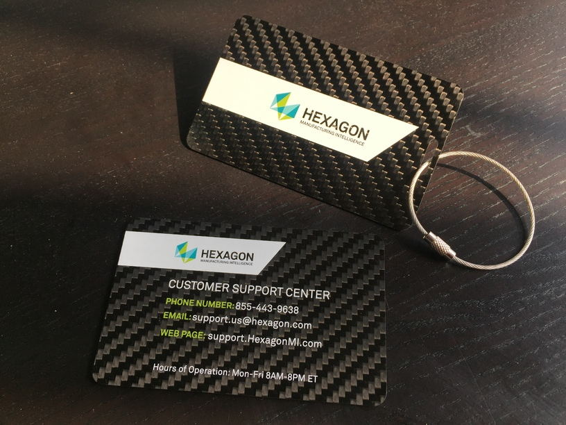 Hexagon Carbon Fiber Luggage Tags and Magnets