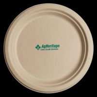 6.75 inch Kraft Round Compostable Paper Plate | Imprinted ...