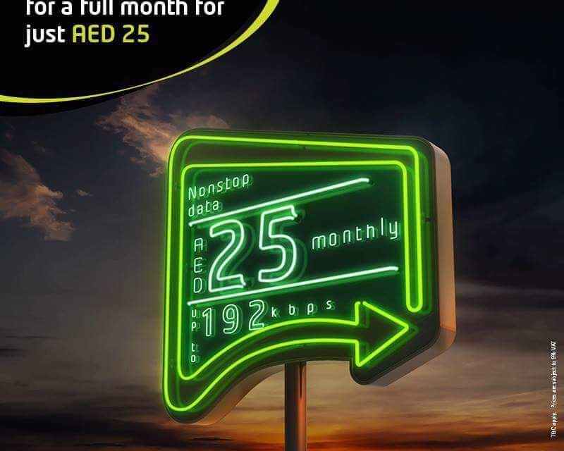 Enjoy nonstop data for a full month for just AED 25 on