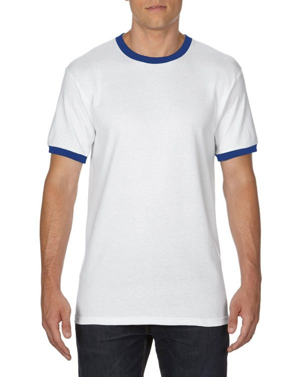 Gildan Adult Ringer T-Shirt White/Royal 2Xlarge (0(8600) 1 | | Promotion Wear