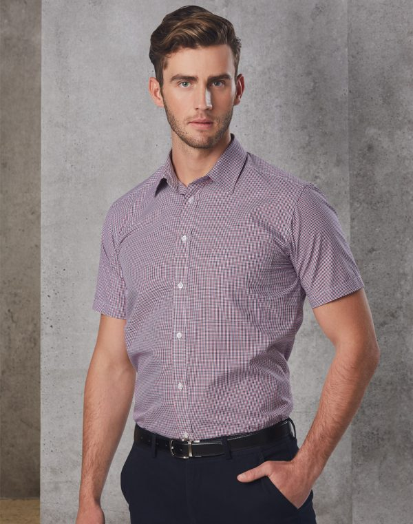 M7340S Men's Two Tone Mini Gingham Short Sleeve Shirt 1 | | Promotion Wear