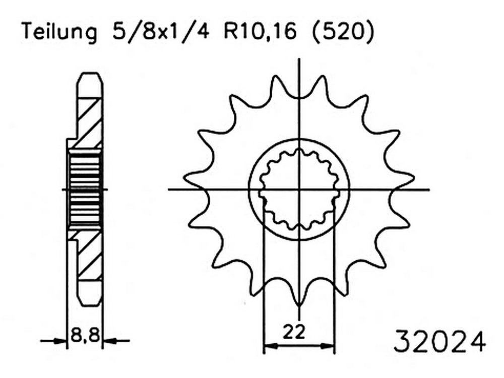 Esjot voortandwiel 14 tands KTM SX/EXC/SXF/EXC-F 125/144