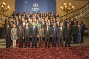 UN delegates from 80 nations gather at Lancaster House in London for the annual UN Peacekeeping conference.