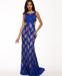 Blue Lace Prom Dress 2015