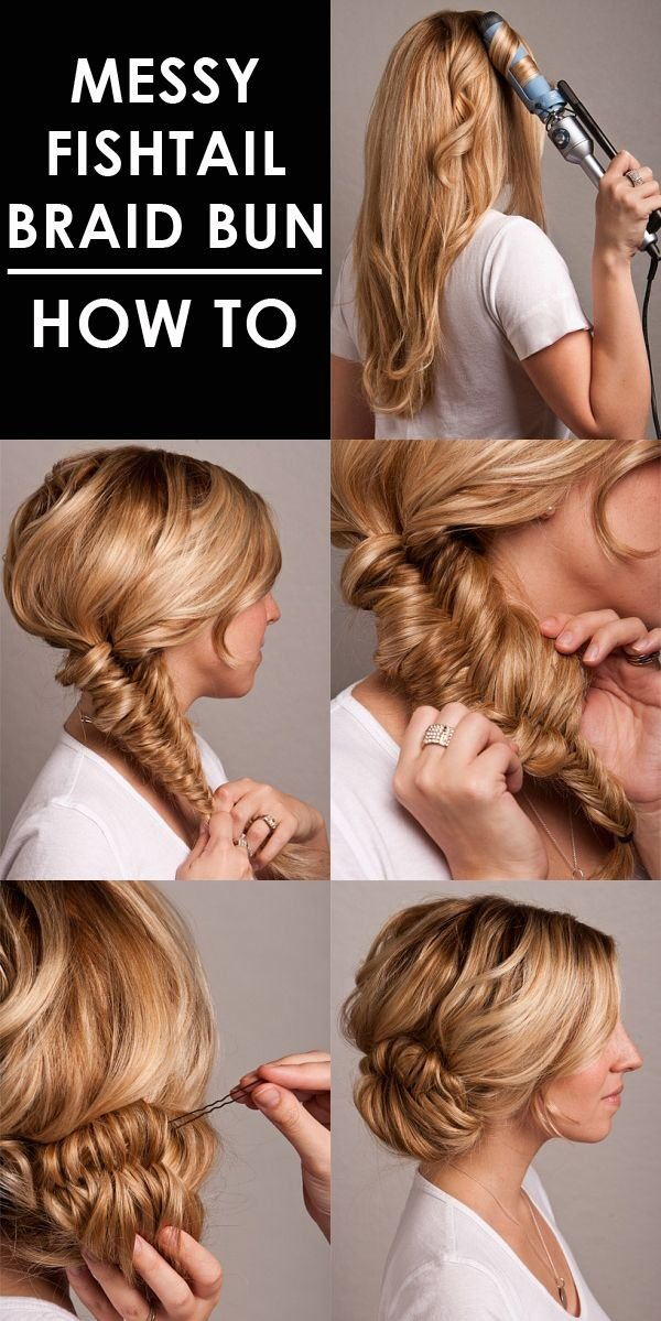 Gorgeous Messy Fishtail Braid Prom Updo 2015 Tutorial