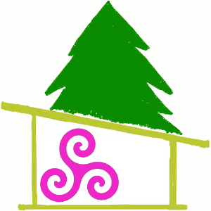 The Changing Blog logo drawing pine tree, cabin and a pink triskele symbol