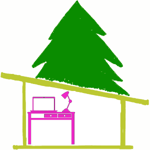 The Home Office logo drawing pine tree, cabin and pink desk with laptop and desk lamp