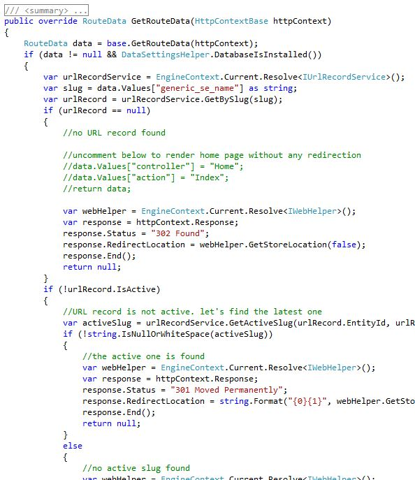 Code snippet from GenericPathRoute.cs showing how it retrives UrlRecord from the database
