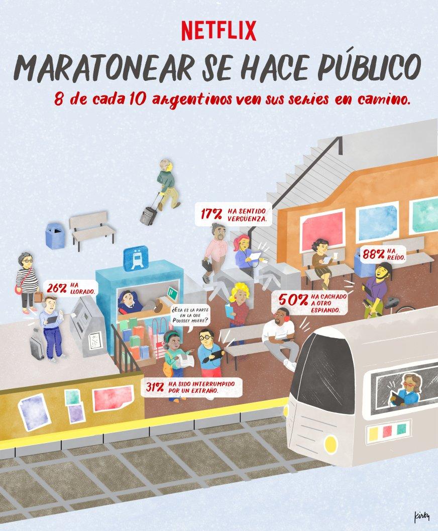 Ilustración Maratones en lugares públicos - Netflix