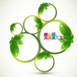 Cerchi verdi con foglie e logo Ecotank