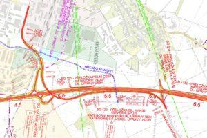 Plán z dokumentace pro EIA – nová trasa od křižovatky Na Pile přes průmyslové areály a podél obchvatu k aleji