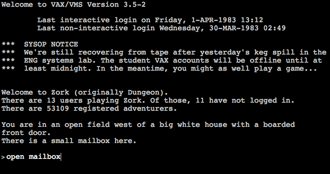 the opening of the text-based adventure game Zork