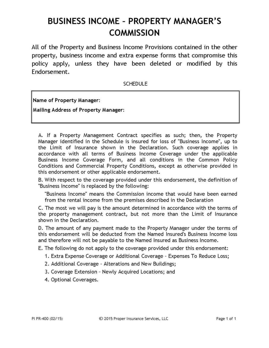 property manager commission income endorsement. Black Bedroom Furniture Sets. Home Design Ideas