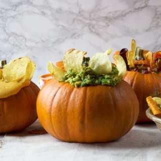 Halloween Crisps and Dips in Pumpkins