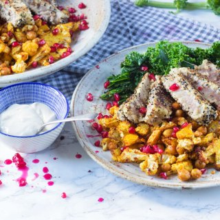 Cumin Crumbed Tuna Steak with Paprika Cauliflower & Crispy Kale
