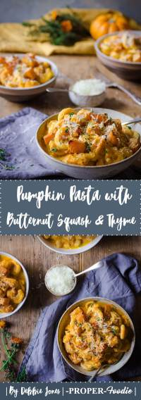 pumpkin pasta with butternut squash and thyme