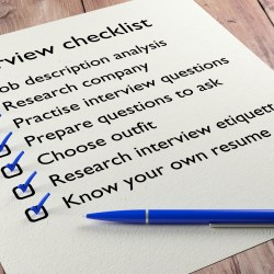 Property Management interview checklist on wooden table with a blue ball pen and tickmarks 3D illustration