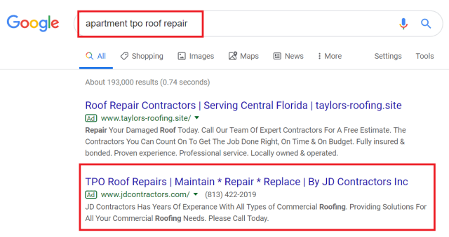 Apartment TPO Roof Repair Search On Google To Find Contractors For A Third Bid