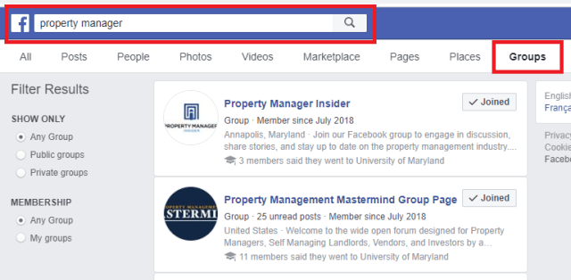 Example of Searching For Property Management Facebook Groups For Using Facebook Groups To Find Commercial Contractors Guide