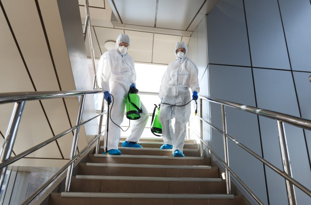 Two Workers In Hazmat Suits Applying Cleaning Chemicals On Stairs In An Office Building Using Electrostatic Disinfecting Sprayers