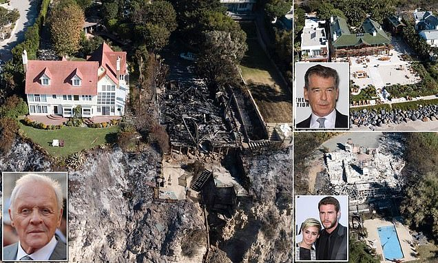 INTERNATIONAL: Incredible photos show how Anthony Hopkins' Malibu mansion was left untouched by the California wildfire that incinerated his neighbour's house, as stars return home to assess the damage