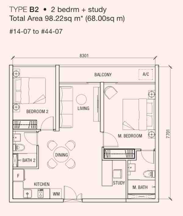 The Bridge Cambodia 2 Bedroom Floor Plan copy