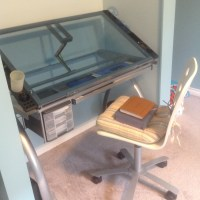 Beautiful new drafting table (courtesy of Tim) in my new home.