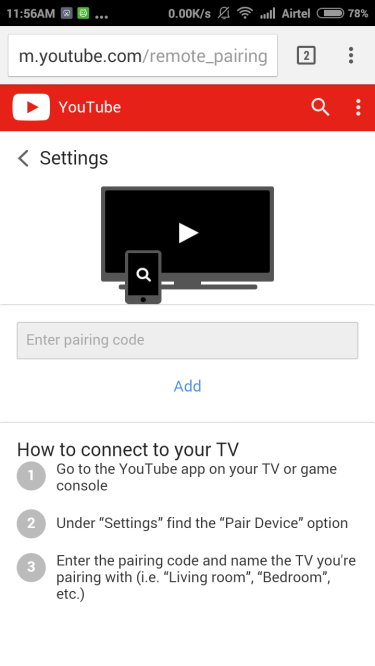 Control Youtube from Youtube Mobile Website in Phone Type Pair Code