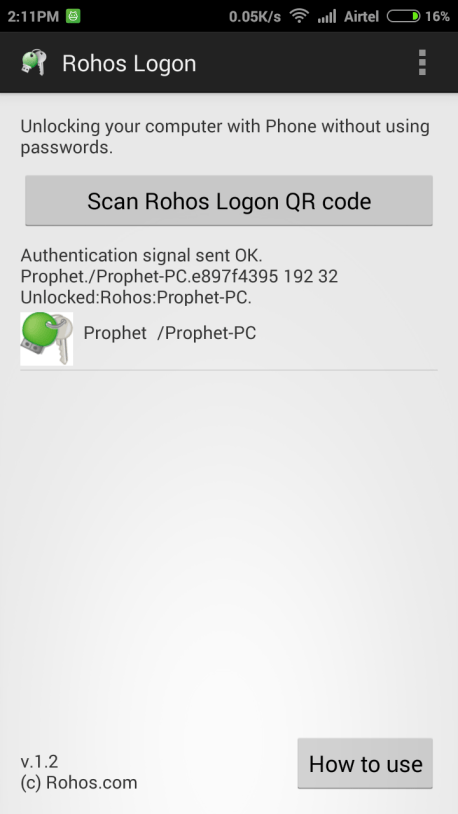 ROHOS Login Android App