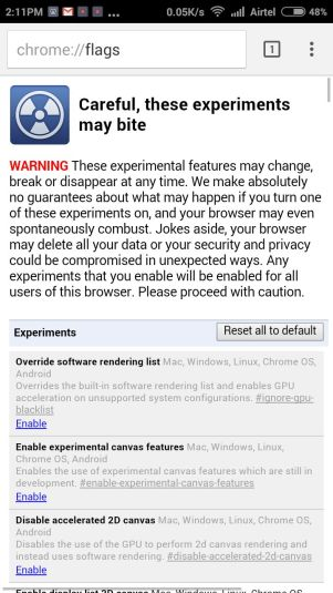 Google Chrome Experimental Feature in Android Phone