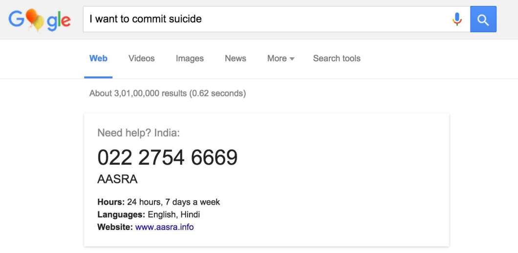 I Want Commit Suicide Google Help