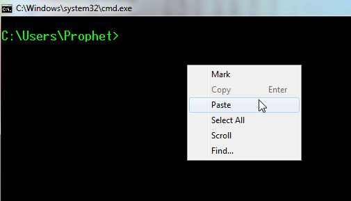Paste any Text in Command Prompt