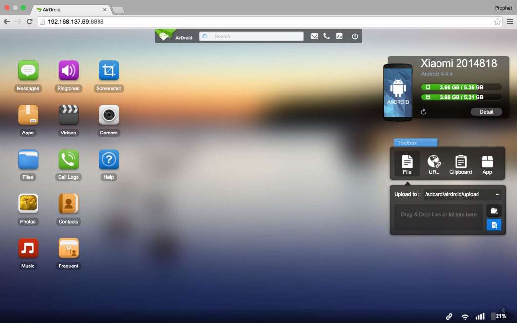 Airdroid on your PC Browser