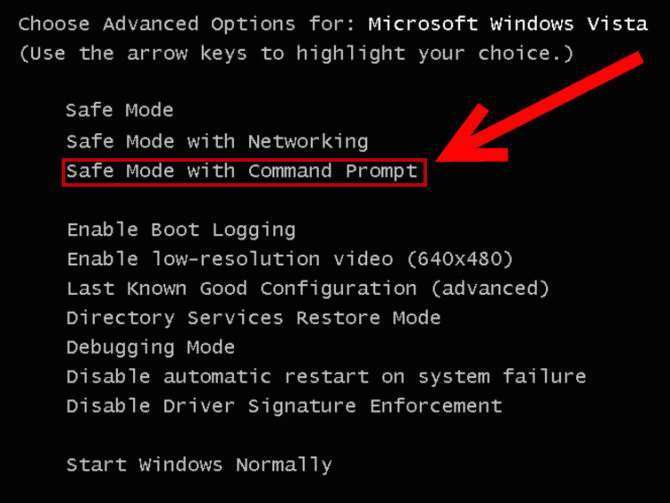 Command Prompt in Safe Mode