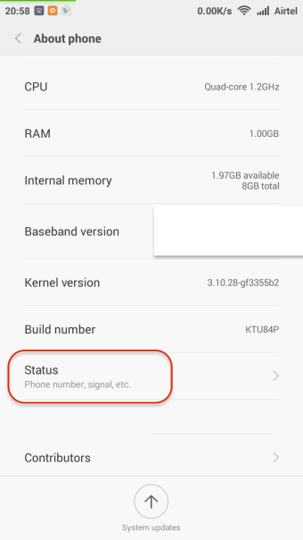 About>>Settings in Android Phone