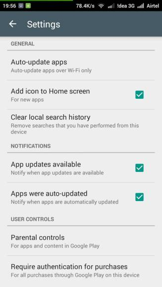 Google Play Store Settings