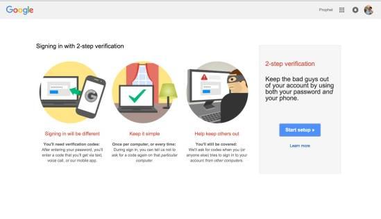 Enable Two Step Verification in Google Account
