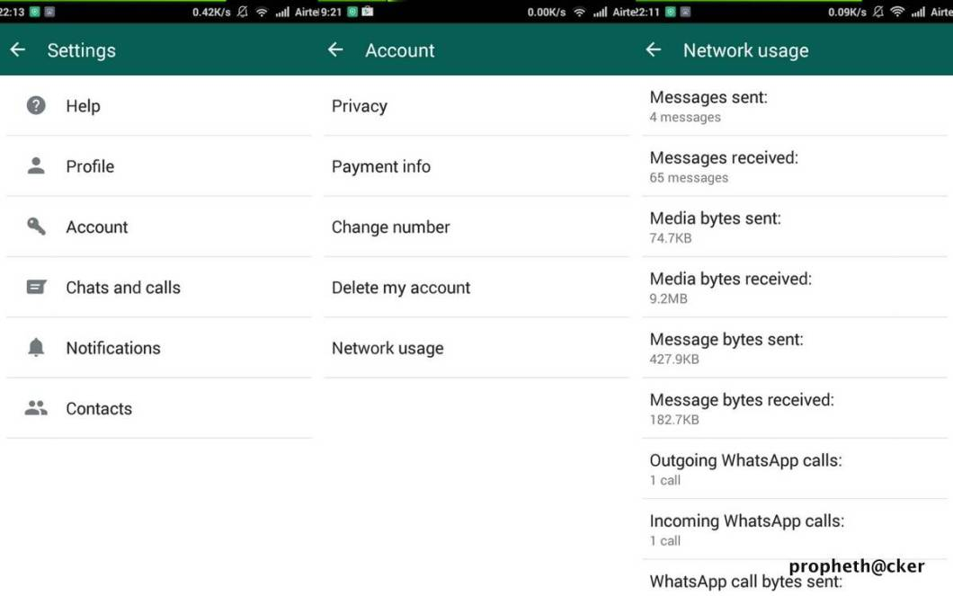 Network Usage in Whatsapp