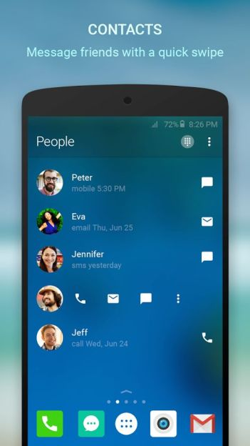 Recent Call List and Contacts in Arrow Launcher