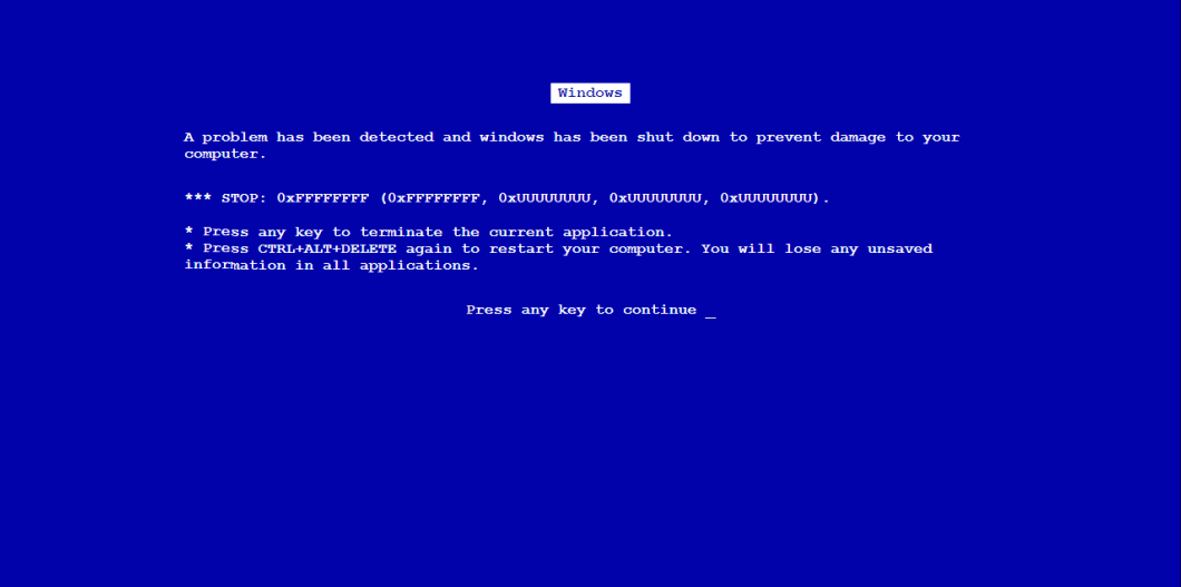 Fake Bsod Website for Fake Blue Screen Death