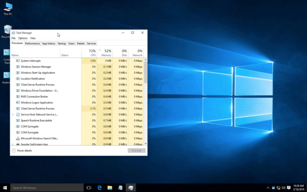 Open Task Manager in Window 10